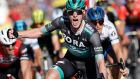 Irish rider Sam Bennett of Bora-Hansgrohe   celebrates winning the sixth stage of the Paris-Nice   race   from Peynier to Brignoles, France. Photograph:  Sebastien Nogier/EPA