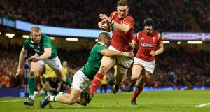 George North of Wales scores the first try during the Six Nations match between Wales and Ireland at the Principality Stadium, Cardiff in March  2017. Photograph: Stu Forster/Getty Images