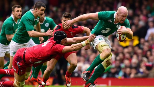 Ireland captain Paul O' Connell breaks the tackle of Luke Charteris during the RBS Six Nations match between Wales and Ireland at Millennium Stadium, Cardiff in March 2015. Photograph: Stu Forster/Getty Images