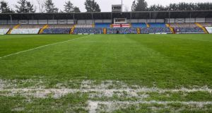A view waterlogged pitch at Pairc Ui Rinn earlier this month.