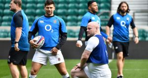 England's scrum-half Ben Youngs (second left) and Dan Cole  during a training session at Twickenham in London. Photograph: Getty Images