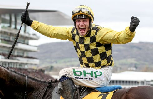 MY LOVELY HORSE: Paul Townend onboard Al Boum Photo celebrates winning Magners Cheltenham Gold Cup Chase at Cheltenham on Friday. Photograph: Dan Sheridan/Inpho