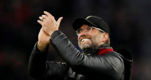 "Liverpool manager Jürgen Klopp celebrates his team's victory over Bayern Munich on Wednesday: ""We have to start looking at ourselves how other teams see us."" Photograph: Andrew Boyers/Reuters"