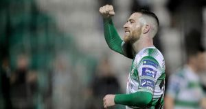 Shamrock Rovers' Jack Byrne celebrates after the victory over Sligo Rovers in the SSE Airtricity League Premier Division match at  Tallaght Stadium. Photograph: Laszlo Geczo/Inpho