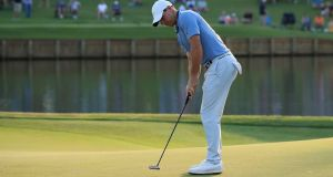 Rory McIlroy rolls home an  eagle on the 16th green during the second round of The Players Championship on The Stadium Course at TPC Sawgrass  in Ponte Vedra Beach, Florida. Photograph: Sam Greenwood/Getty Images