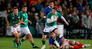Ireland's Angus Kernohan makes a break during the under-20s Six Nations win over Wales. Photo: Oisin Keniry/Inpho