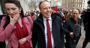 Democratic Unionist Party (DUP) deputy leader Nigel Dodds leaves after speaking to the media outside the cabinet office in London on Friday. Photograph: Reuters/Henry Nicholls