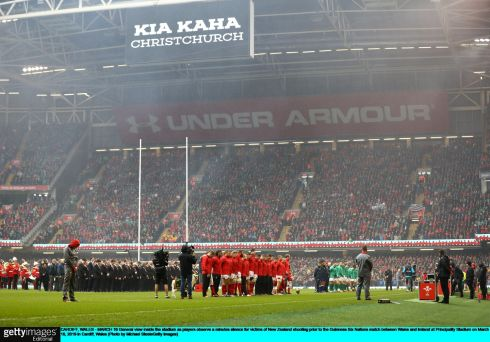 The players observe a minutes silence for victims of New Zealand shooting prior to the match. Photo: Michael Steele/Getty Images