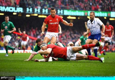Hadleigh Parkes Wales in the openg minutes at the Principality Stadium. Photo: Dan Mullan/Getty Images