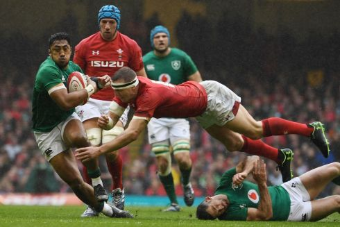 Ireland's centre Bundee Aki makes a break. Photo: Getty Images