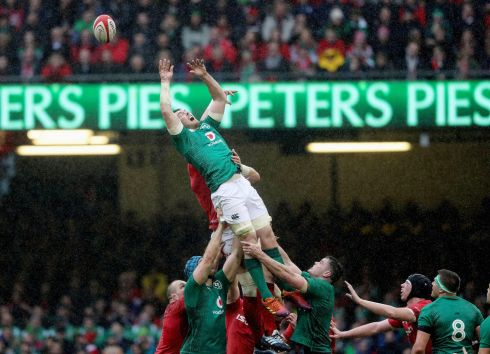 Ireland's Peter O'Mahony is unable to catch a lineout ball. Photo: INPHO/Bryan Keane