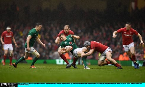 Jonathan Davies of Wales tackles Garry Ringrose of Ireland. Photo: Stu Forster/Getty Images