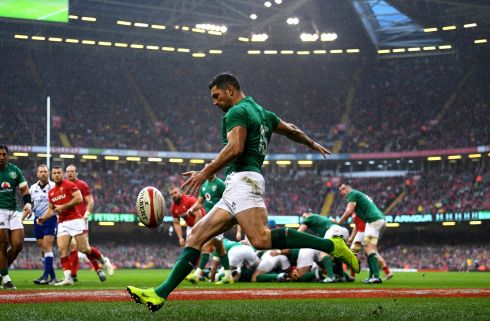 Ireland's Rob Kearney clears his lines. Photo: INPHO/Alex Davidson
