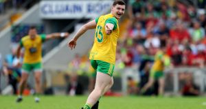 Donegal's Jamie Brennan kicked the clinching goal for Donegal in their win over Cork. Photo: Tommy Dickson/Inpho