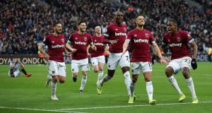 Javier Hernández celebrates scoring West Ham's winning goal in the Premier League game against Huddersfield Town at London Stadium. Photograph: Christopher Lee/Getty Images