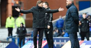 Rangers manager Steven Gerrard during his team's draw at Ibrox Stadium. Photograph: PA