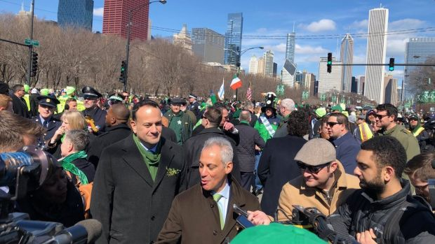 Taoiseach Leo Varadkar at the Chicago St Patrick's Day parade in the US on Saturday. Photograph: Suzanne Lynch