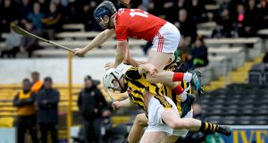 Conor Lehane of Cork goes highest in a bid to claim a high ball during the Allianz Hurling League Division 1A relegation playoff at Nowlan Park. Photograph: Lorraine O'Sullivan/Inpho