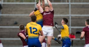 Galway win a kickout against Roscommon in Salthill. Photograph: Evan Logan/Inpho