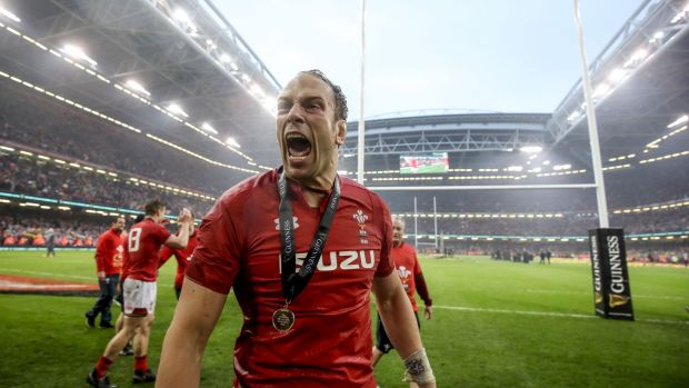 Wales' Alun Wyn Jones celebrates after the game in Cardiff. Photograph: Dan Sheridan/Inpho