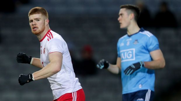 Tyrone's Cathal McShane celebrates scoring a goal against Dublin. Photograph: Oisin Keniry/Inpho