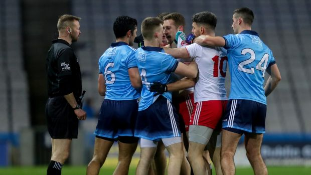 Tempers flare between Dublin and Tyrone during the Allianz Football League Division 1 match at Croke Park. Photograph: Oisín Keniry/Inpho