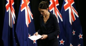 New Zealand prime minister Jacinda Ardern has said her office was among several recipients of a so-called manifesto by the suspected Christchurch gunman just minutes before the attacks.  Photograph: Hagen Hopkins/Getty Images