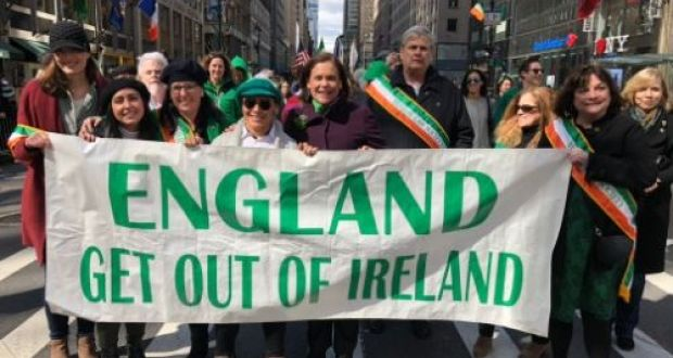 Sinn Féin president Mary Lou McDonald pictured taking part in New York's St Patrick's Day parade. Photograph: Twitter