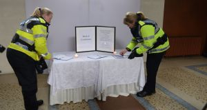 A book of Condolence in the Pro Cathedral for victims of the New Zealand shootings. Photograph: Dara MacDonaill