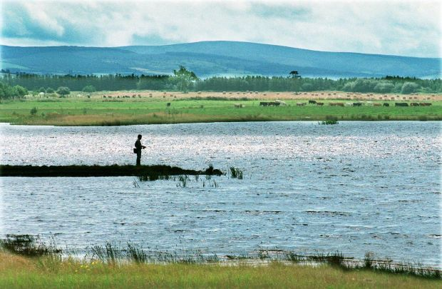 A fisherman on the lakes on the bog at Lough Boora Parklands