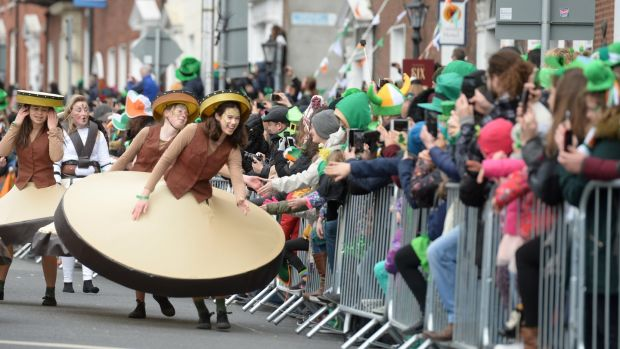 Wexford arts group Buí Bolg at the St Patrick's Day parade in Dublin. Photograph: Dara Mac Dónaill