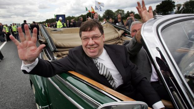 Then taoiseach Brian Cowen at the official opening of the final section of the M8 Dublin to Cork motorway in 2010. Photograph: Matt Kavanagh
