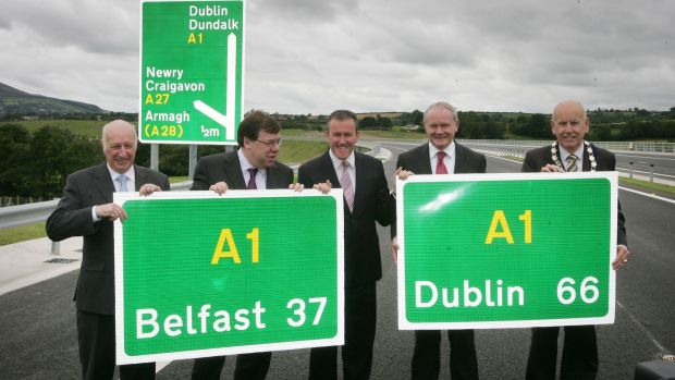 Politicians at the official opening of the stretch completing the connection of Dublin and Belfast. Photograph: Alan Betson