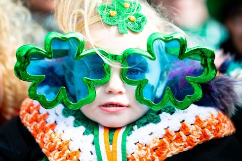 St. Patrick's Festival Parade,  Dublin. Lianna Collins  aged 2 from Crumlin. Photo: Tom Honan for The Irish Times.