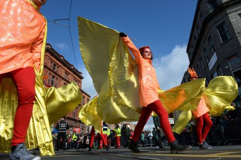 Inishowen Carnival Group at the St. Patrick's Festival Parade in Dublin. Photograph: Dara Mac Donaill / The Irish Times