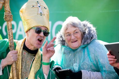 St. Patrick's Festival Parade,  Dublin. Irene Mullally from Bangor pictured with St Patrick. Photo: Tom Honan for The Irish Times.