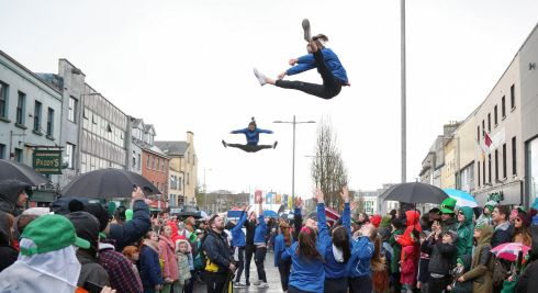 Junping high during the St Patrick's Day parade in Galway. Photograph: Joe O'Shaughnessy.