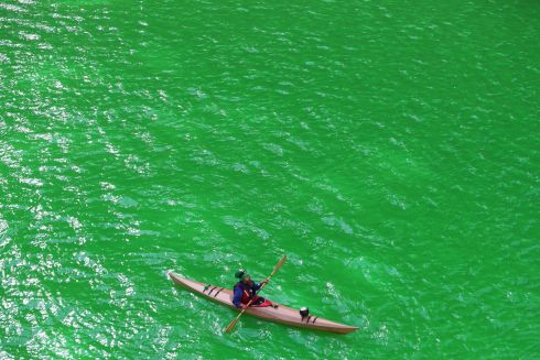 The Chicago River in Chicago, USA, is turned green for St Patricks Day. Photo: Brian Lawless/PA Wire