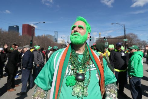 Participants before the St Patrick's Day Parade in Chicago, USA. Photo: Brian Lawless/PA Wire