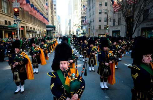 Bagpipers march on 5th Avenue during the annual New York City St. Patrick's Day Parade on March 16, 2019. - The New York City St. Patrick's Day parade, dating back to 1762, is the world's largest St. Patrick's Day celebration. Photo by Johannes EISELE / AFP/Getty Images