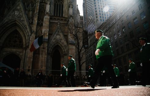 Participants march during the St. Patrick's Day Parade in New York, New York, USA, 16 March 2019. The annual event is the largest St. Patrick's Day Parade in the United States.  EPA/ALBA VIGARAY