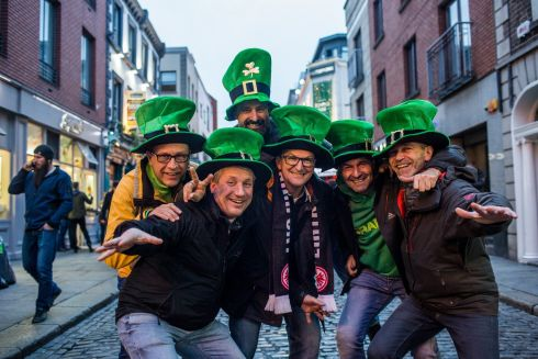 Frank, Max, Frank White, Frank Fehres, Rolf and Peter Winter from Frankfurt are seen in Templebar ahead of St.Patricks Day festival.Photo: James Forde for the Irish Times