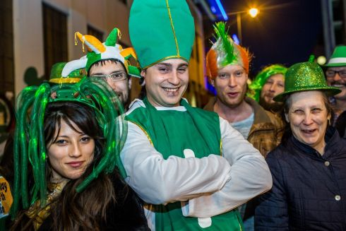 Layla, Mael, Gaetan, Jerome, Sebastian, Nicole, from Switzerland are seen in Templebar ahead of St.Patricks Day festival. Photo: James Forde for the Irish Times