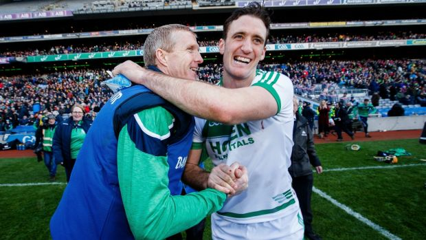 Ballyhale Shamrocks manager Henry Shefflin celebrates at the final whistle with Colin Fennelly. Photograph: Tommy Dickson/Inpho