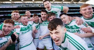 Ballyhale Shamrocks players celebrate after their AIB All-Ireland Senior Club Hurling Championship Final victory over St Thomas' at Croke Park. Photograph:  Tommy Dickson/Inpho