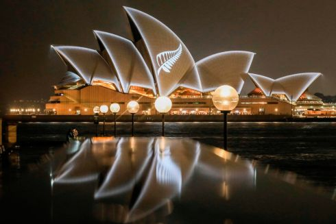 SOLIDARITY IN SYDNEY: The sails of the Sydney Opera House are lit with the design of New Zealand's silver fern, organised by the New South Wales government in Australia in a show of solidarity with victims and survivors of the Christchurch mosque attacks in New Zealand. Photograph: Salty Dingo/State of NSW/AFP