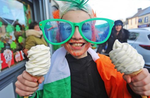 ON THE DOUBLE: Louis Clarke cools down with two ice creams on an already cold St Patrick's Day in Kilnaleck, Co Cavan on Sunday afternoon. Photograph: Lorraine Teevan