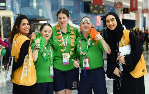 SPECIAL OLYMPICS: Team Ireland Table Tennis stars (from second left),  Fiodhna O'Leary of Blackrock Flyers,  Aoife McMahon of COPE Foundation, and Francis Power, Navan Arch Club, with local volunteers Mariam Alrabeea and Ashwaq Alsubaie, at the 2019 Special Olympics World Games in the Abu Dhabi National Exhibition Centre, United Arab Emirates. Photograph: Ray McManus/Sportsfile
