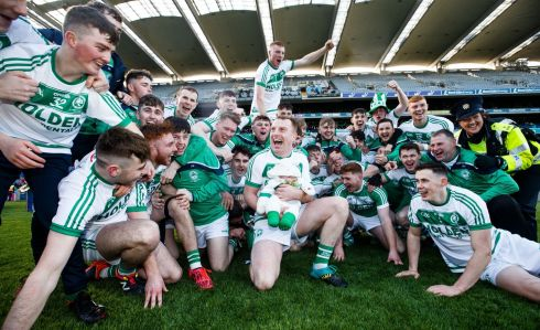 GREEN GIANTS: Ballyhale Shamrocks celebrate their St Patrick's Day win over St Thomas in the GAA All-Ireland Senior Club Hurling Championship Final in Croke Park. Photograph: Tommy Dickson/Inpho