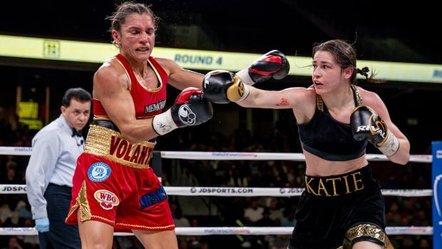 Katie Taylor stuns Rose Volante with a right hook. Photograph: Inpho